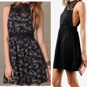 Freepeople lace neck sleeveless floral dress Small